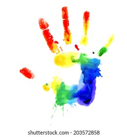 Handprint in colors of the rainbow, vector image on white background