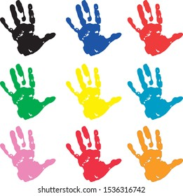 Handprint in different colors on a white background - Illustration