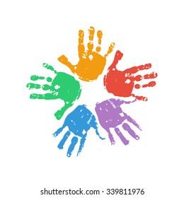 Handprint flower. Kids palm prints form the flower. Colorful hand painted flower. Children handprint crafts. Preschool / primary school design element. Vector eps 10 illustration isolated on white.