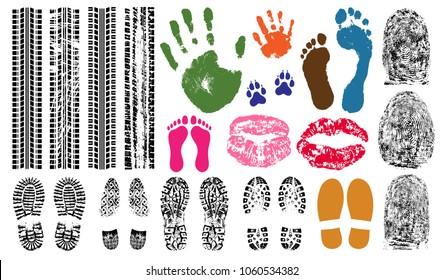 Handprint, footprint, fingerprint, print of the lips, tire tracks. Imprint set collection evidence. Vector illustration