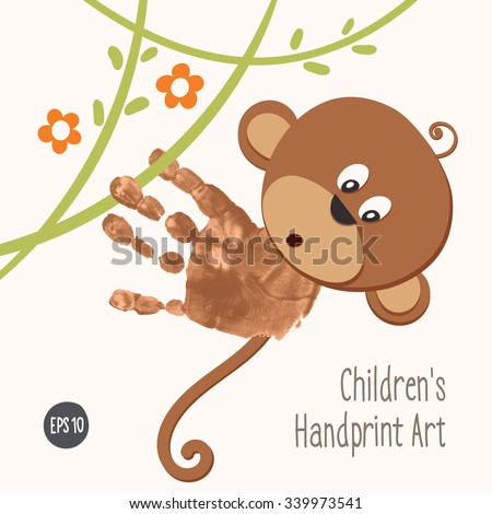 Handprint Monkey Climbing Jungle Hand Painted Stock Vector Royalty