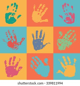 Handprint poster in flat style. Watercolor / acrylic colorful kids handprints.  Kids art or crafts. Preschool / primary school design element. Vector eps 10 illustration isolated on white background.