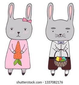 Handrawn clipart with easters elements - bunny girl and boy, carot and basket with eggs, vector clipart