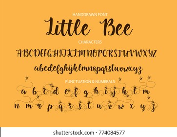 Handrawn vector alphabet. Modern calligraphic font. Brush painted letters with decorative alternates with bees.