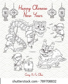 handrawn vector of chinese new year celebration with lion dance illustration