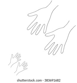 Hands adult and child. Vector charity and volunteer concepts and logo design elements. Emblems and signs for nonprofit and philanthropic organizations and centers. Hand drawn illustration.