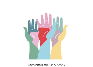 Hands in the air. Call for voting. Flat vector illustration.