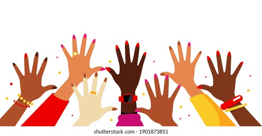 Hands up in the air. Collection of female multi-ethnic hands. Women reach up, vote, wave, greet. Various kind of jewelry: rings, watches, bracelets. Concept of voting, judging