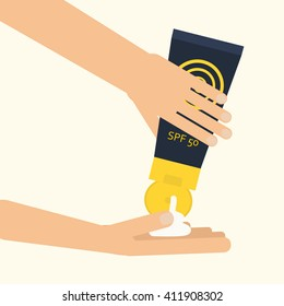 Hands applying sunscreen. Vector illustration for using spf sunblock cream from plastic container. Skin cancer protection. Flat style