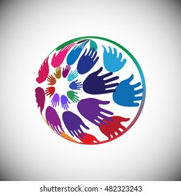 Hands arranged in Globe shape, Concept of Volunteer support, Charity, Outreach and Unity, vector illustration
