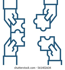 Hands assembling puzzle, business concept. Vector illustration