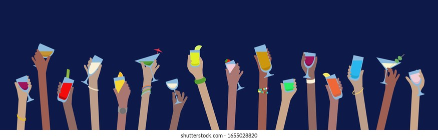 Hands banner with drinks of alcohol in glasses celebrate at Party - vector easy to edit
