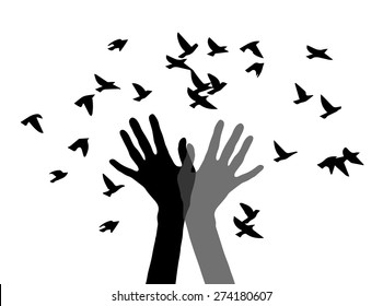Hands and birds. Hand release the birds. Silhouette of two hands and the birds. Vector black universal web icons isolated on white background.