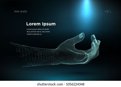 hands. blue wireframe hands reaching to each other. Wireframe hand sign mesh from a starry on blue background. Vector illustration rendering of 3d