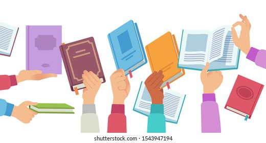 Hands with books. People holding and reading book and magazine, public library literature reader. Academic knowledge vector learning information in opening textbook concept