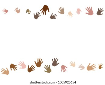 Hands border, palms frame isolated on white vector background design. Skin color diversity concept. Social, national, racial issues symbols.  Hand prints, human palms cohesion concept.
