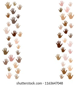 Hands border, palms frame isolated vector background. Skin color diversity concept. Social, national, racial issues symbols.  Hand prints, human palms - friendship concept.
