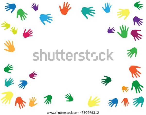 2ba1025f789259 Hands border, palms frame isolated on white vector illustration.  Multicolored handprints, symbols of