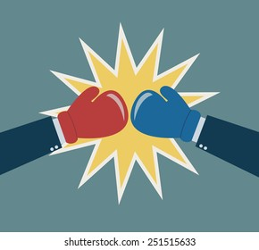 hands boxing glove business fighting concept vector