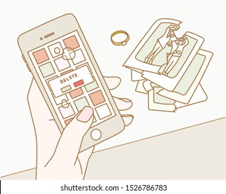 Hands breaking up with lover and deleting photo from mobile phone. Here the picture taken with the lover is torn. hand drawn style vector design illustrations.