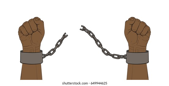 Hands with broken chain of shackles. Hand-drawn sketch