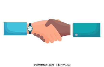 hands business persons done deal vector illustration design