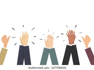 Hands in business suits applaud, pull the thumb up. Vector illustration, flat cartoon, eps 10. Concept: approval, colleagues opinion, consent, success, voters, like-minded people, enthusiasm.