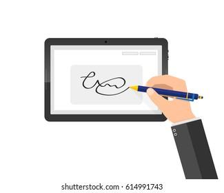Hands of businessman and digital signature on tablet. Vector illustration. Concept of modern handwritten digital signature in flat design.