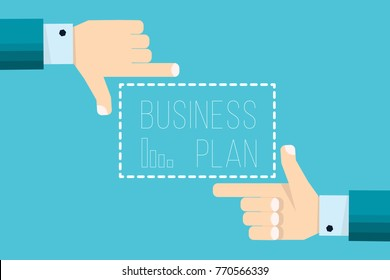 Hands of businessman focusing doing finger frame with Business Plan  - vector illustration in flat style