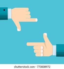 Hands of businessman focusing doing finger frame  - vector illustration in flat style