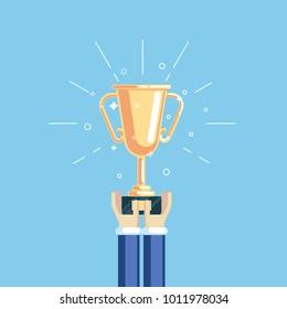 Hands of businessman holding golden cup flat vector illustration. Winner prize goblet. Business trophy award