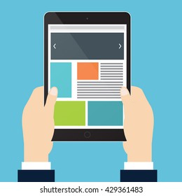 Hands of businessman is holding vertical tablet and open website. Vector illustration flat style.