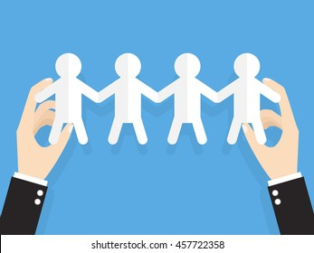 hands of businessman or manager holding people hold hand. cut out of paper