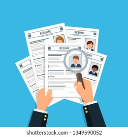Hands businessman with resume CV and magnifying glass. Analyzing personnel resume. Hiring concept. Recruitment and human resources management. Vector illustration in flat style.