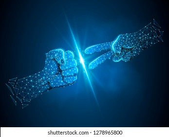 Hands of businessman with Rock versus Scissors gesture. Connection wireframe image. Rock, Papper, Scissors game. Neon Polygonal space low poly. Vector on dark blue background