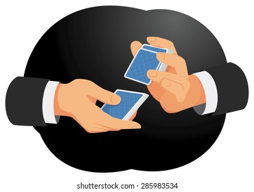 Hands of a businessman are shuffling cards on the dark background