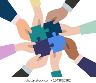 The hands of businessmen connect the pieces of puzzles into a single whole. The concept of successful business team work. Partnership and cooperation. Vector flat design.