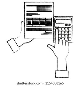 hands with calculator math and documents