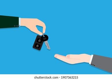 Hands with car keys. Key handover. Sale concept. Vector illustration. Stock image. EPS 10.