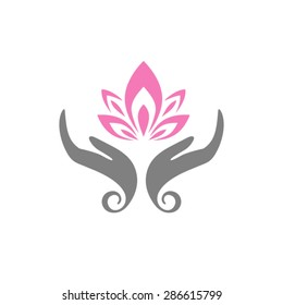 Hands care lotus. Hands holding a Lotus flower vector icon.