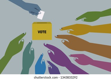 Hands casting vote in a ballot box. Concept for election.