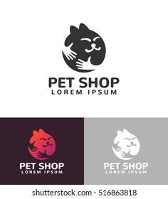 Hands with cat silhouette logo. Pets care vector logo template. Cat logo vector concept. Pet shop logo. Pet shop icon.  Pets icon. Pets vector.