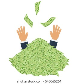 Hands catching money. Pile of money. Symbol of wealth, success and good luck. Banking and Finance. Flat vector cartoon illustration. Objects isolated on a white background.