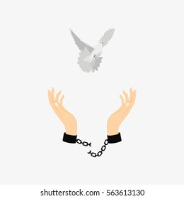 Hands in chains broken. Dove of peace. Isolated on white background. Flat vector stock illustration