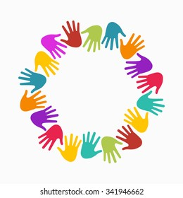 Hands in circle. Concept of group of children, people and union