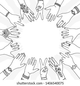 Hands in a circle - hand drawn, diverse hands held in a circle