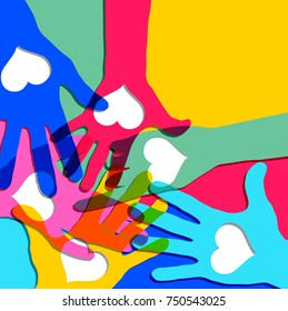 Hands in circle with hearts. Friendship concept, vector