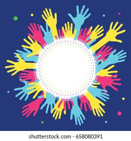 Hands in circle with place in center for text. Concept of group of children, people and union. Waving hands in the fun event. Hand-voting in the crowd. Vector illustration