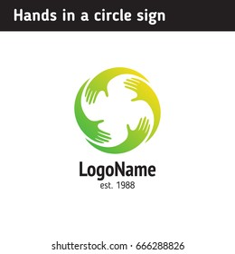 Hands in a circle, a symbol of teamwork, support
