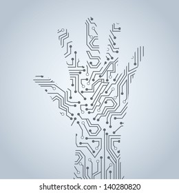 hands circuit over gray background vector illustration